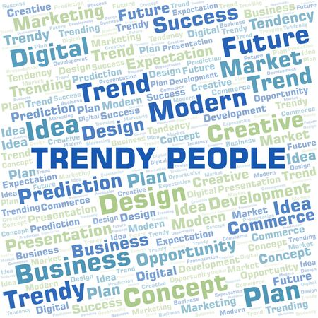 Trendy People word cloud. Wordcloud made with text only. Vecteurs