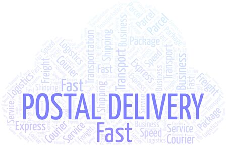 Postal Delivery word cloud. Wordcloud made with text only.