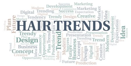 Hair Trends word cloud. Wordcloud made with text only. Çizim