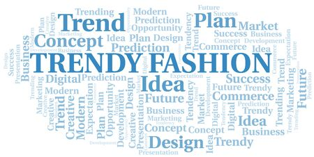 Trendy Fashion word cloud. Wordcloud made with text only. Çizim