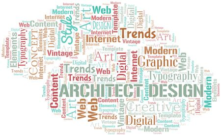 Architect Design word cloud. Wordcloud made with text only.