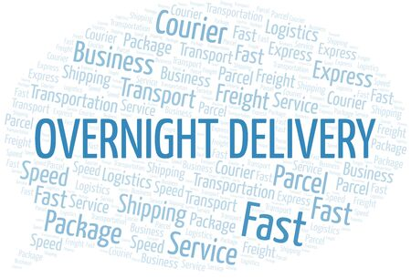 Overnight Delivery word cloud. Wordcloud made with text only.