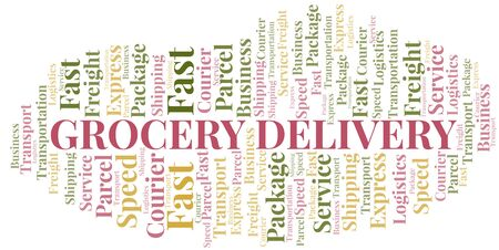 Grocery Delivery word cloud. Wordcloud made with text only. Ilustrace
