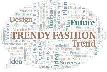 Trendy Fashion word cloud. Wordcloud made with text only. Stock Illustratie