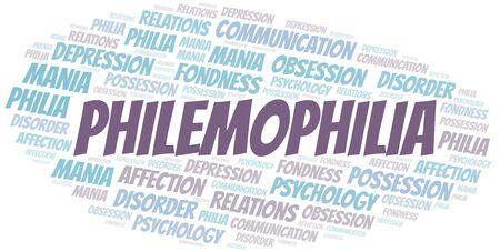 Philemophilia word cloud. Type of Philia.