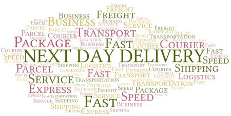 Next Day Delivery word cloud. Wordcloud made with text only.
