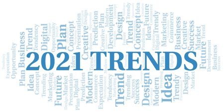 2021 Trends word cloud. Wordcloud made with text only.