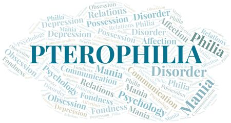 Pterophilia word cloud. Type of Philia.