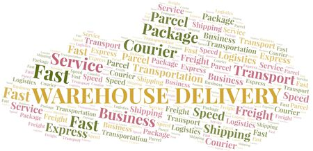 Warehouse Delivery word cloud. Wordcloud made with text only. Reklamní fotografie - 124719611