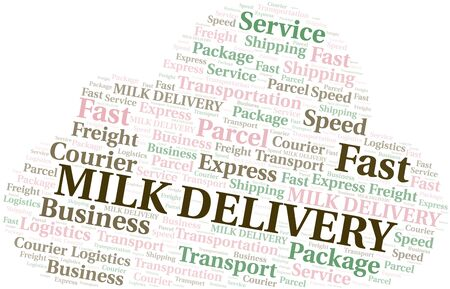 Milk Delivery word cloud. Wordcloud made with text only. Ilustrace