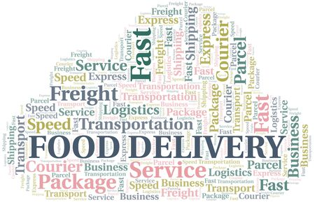 Food Delivery word cloud. Wordcloud made with text only. Ilustrace