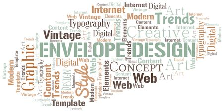 Envelope Design word cloud. Wordcloud made with text only. Standard-Bild - 124720002