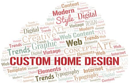 Custom Home Design word cloud. Wordcloud made with text only. Standard-Bild - 124720003