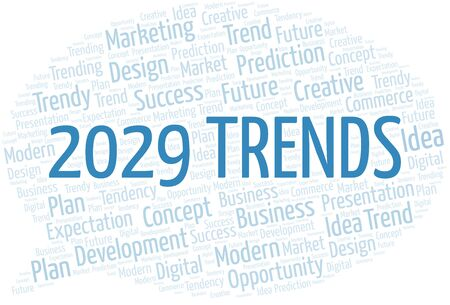 2029 Trends word cloud. Wordcloud made with text only. Standard-Bild - 124720004