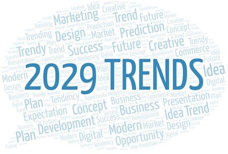 Nube de palabras de tendencias 2029. Wordcloud hecho solo con texto.