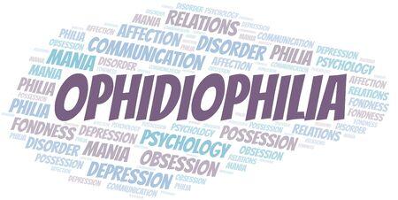 Ophidiophilia word cloud. Type of Philia. Standard-Bild - 124720009