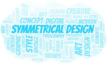 Symmetrical Design word cloud. Wordcloud made with text only. Standard-Bild - 124720011