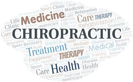 Chiropractic word cloud. Wordcloud made with text only. Standard-Bild - 124720012