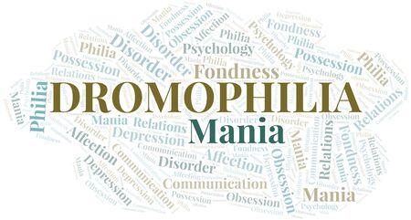 Dromophilia word cloud. Type of Philia. Standard-Bild - 124720013