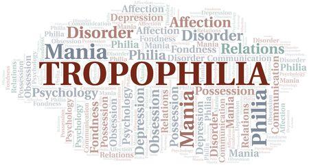 Tropophilia word cloud. Type of Philia. Standard-Bild - 124720015