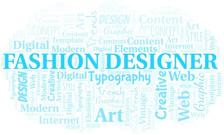 Fashion Designer word cloud. Wordcloud made with text only. Standard-Bild - 124720028