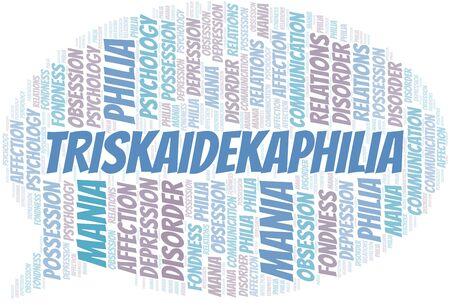 Triskaidekaphilia word cloud. Type of Philia. Standard-Bild - 124720030