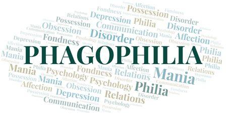 Phagophilia word cloud. Type of Philia. Standard-Bild - 124720032