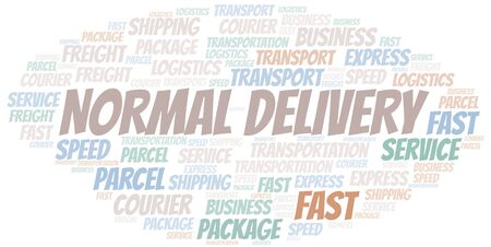 Normal Delivery word cloud. Wordcloud made with text only. Ilustrace