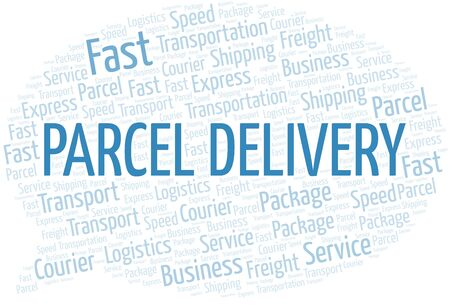 Parcel Delivery word cloud. Wordcloud made with text only.