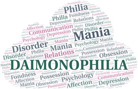 Daimonophilia word cloud. Type of Philia. Standard-Bild - 124720040