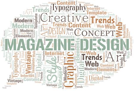 Magazine Design word cloud. Wordcloud made with text only. Standard-Bild - 124720041