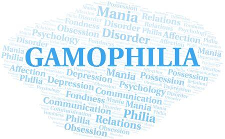 Gamophilia word cloud. Type of Philia. Standard-Bild - 124720042