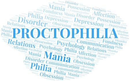 Proctophilia word cloud. Type of Philia. Standard-Bild - 124720183