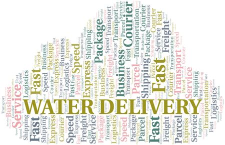 Water Delivery word cloud. Wordcloud made with text only. Ilustrace