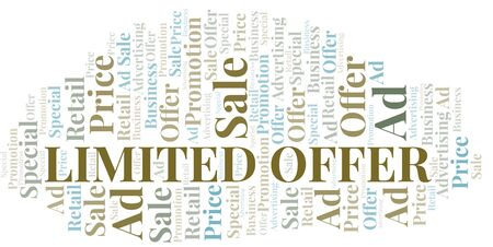 Limited Offer word cloud. Wordcloud made with text only. Standard-Bild - 124720321