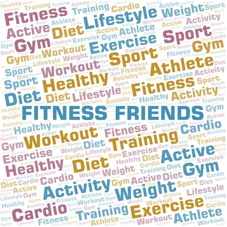 Fitness Friends word cloud. Wordcloud made with text only. Standard-Bild - 124884729