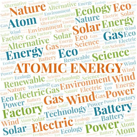 Atomic Energy word cloud. Wordcloud made with text only. Standard-Bild - 124906605