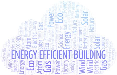 Energy Efficient Building word cloud. Wordcloud made with text only. Standard-Bild - 124908283