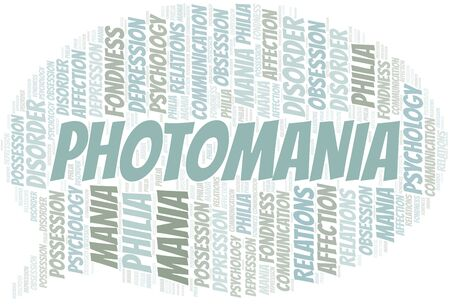 Photomania word cloud. Type of mania, made with text only. Ilustração