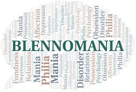 Blennomania word cloud. Type of mania, made with text only. Vettoriali