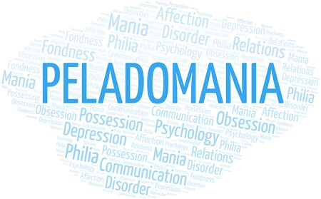 Peladomania word cloud. Type of mania, made with text only.