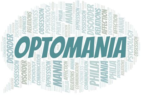 Optomania word cloud. Type of mania, made with text only.