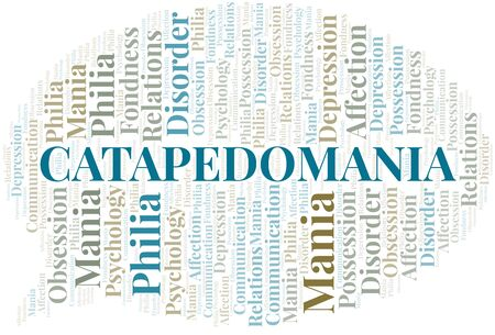 Catapedomania word cloud. Type of mania, made with text only.