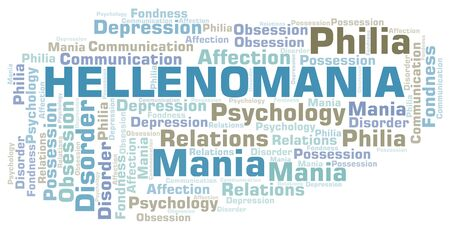 Hellenomania word cloud. Type of mania, made with text only.