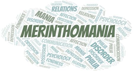 Merinthomania word cloud. Type of mania, made with text only.