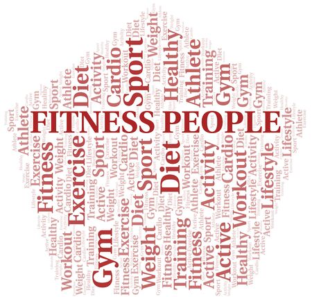 Fitness People word cloud. Wordcloud made with text only. Standard-Bild - 124985308
