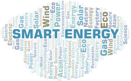 Smart Energy word cloud. Wordcloud made with text only. Illustration