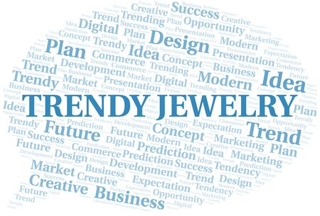 Trendy Jewelry word cloud. Wordcloud made with text only.