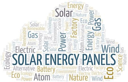 Solar Energy Panels word cloud. Wordcloud made with text only. Illustration