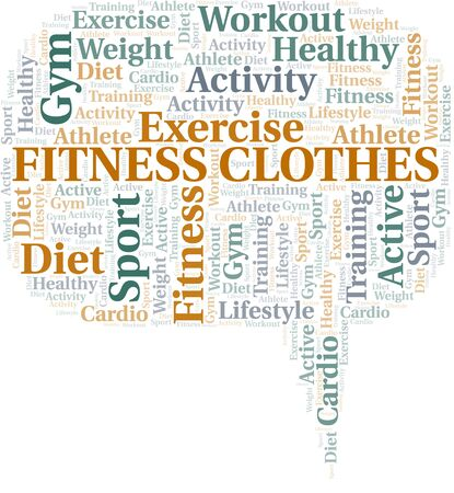 Fitness Clothes word cloud. Wordcloud made with text only. Standard-Bild - 124994584